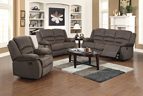 Us pride furniture 3 piece light brown fabric reclining - Fabric reclining living room sets ...