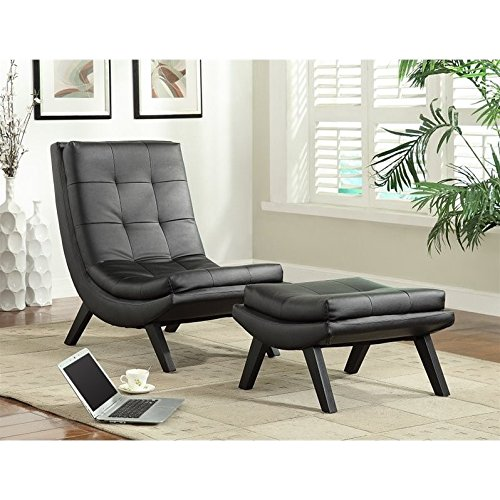 Ave Six Tustin Faux Leather Lounge Chair And Ottoman Set