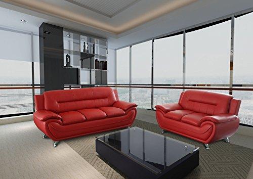 Gtu Furniture Contemporary Bonded Leather Sofa Amp Loveseat