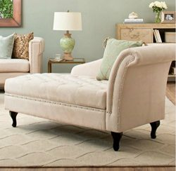 Traditional Storage Chaise Lounge – This Luxurious Lounger w/ Tufted Cushions is a Great A ...