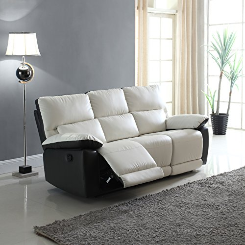 Modern Two Tone Bonded Leather Oversize Recliner Living