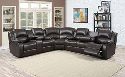 Christies Home Living Samara Dark Sectional with 4 Recliners, Sofa Loveseat Set, Brown, 3 Piece