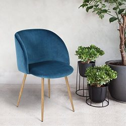 Mid Century Style Living Room Blue Velvet Accent Arm Club Chair Dining Chair , Strong Steel Legs ...