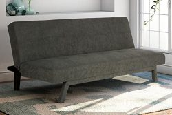 Premium Austin Convertible Sofa Sleeper Futon, Rich Gray Microfiber Couch Bed w/ Upholstered Fro ...