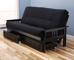 Mission Style Black Wood Frame Futon with Storage Drawers Convertible Full Size Innerspring Matt ...