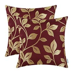Pack of 2 CaliTime Soft Throw Pillow Covers Cases for Couch Sofa Home Decor, Cute Growing Leaves ...