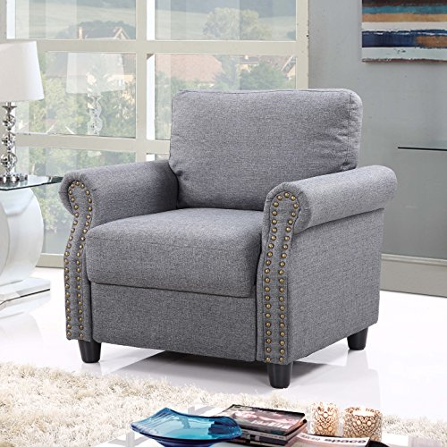 Classic Living Room Linen Armchair With Nailhead Trim And Storage Space Light Grey Gvdesigns