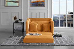 Modern Soft Brush Microfiber Modular / Convertible Sleeper Chair (Yellow)