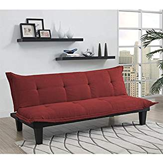 DHP Lodge Convertible Futon Couch Bed with Microfiber Upholstery and Wood Legs Red gvdesigns