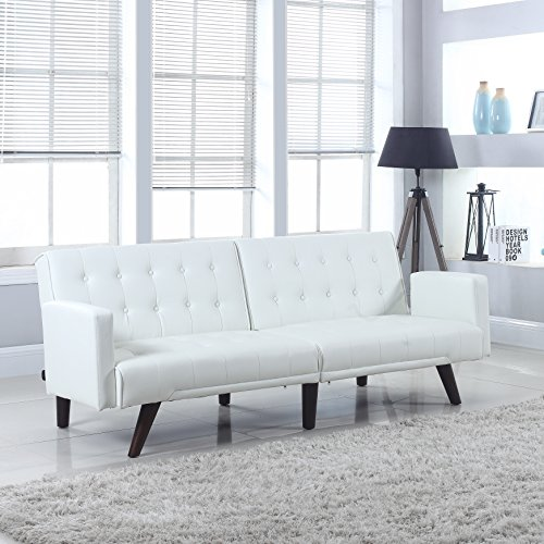 Impressive White Bonded Leather Sofa 3 White Leather: Modern Convertible Tufted Bonded Leather Splitback Sleeper