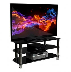 Mount-It! Glass TV Stand For Flat Screen Televisions Fits 40 42 46 47 50 55 60 Inch LCD LED OLED ...