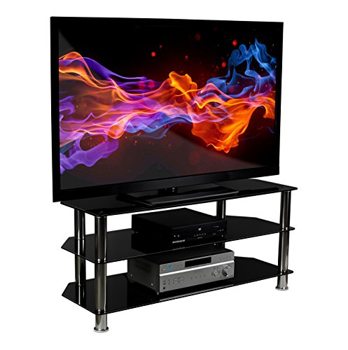 Mount It Glass Tv Stand For Flat Screen Televisions Fits