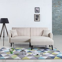 Mid-Century Modern Linen Fabric Futon Sofa Bed, Living Room Sleeper Couch (Beige)