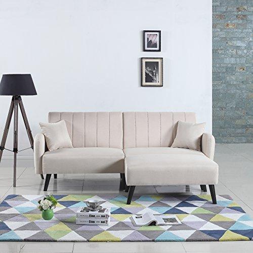 Mid Century Modern Linen Fabric Futon Sofa Bed Living