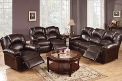 3Pcs Modern Espresso Bonded Leather Sofa Loveseat Glider Recliner Set for a Luxuriously Designed ...