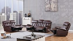 American Eagle Furniture 3 Piece Dunbar Collection Complete Faux Leather Reclining Living Room S ...
