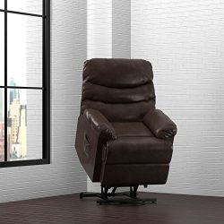 ProLounger Power Recliner and Lift Wall Hugger Chair in Brown Renu Leather