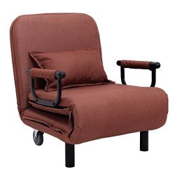 Giantex 26.6″ Convertible Sofa Bed Folding Arm Chair Sleeper Leisure Recliner Lounge Couch ...