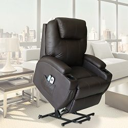 U-MAX Massage Chair Power Lift Recliner Wall Hugger PU Leather heated Vibration with Wheels 2 Co ...