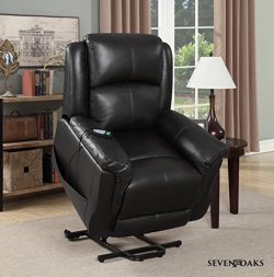 Seven Oaks BLKLEATHMOD Power Lift Recliner for Seniors