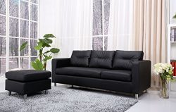 Gold Sparrow Detroit Convertible Sectional Sofa and Ottoman, Black