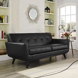 Modway Engage Mid-Century Modern Upholstered Leather Loveseat In Black