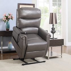 Divano Roma Furniture – Classic Plush Bonded Leather Power Lift Recliner Living Room Chair ...