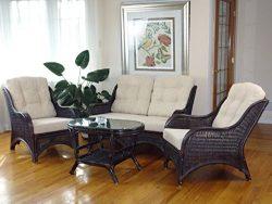 Jam Rattan Wicker Living Room Set 4 Pieces 2 Lounge Chair Loveseat/sofa Coffee Table Dark Brown. ...