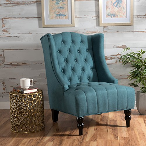 Clarice Tall Wingback Fabric Accent Chair Dark Teal
