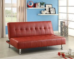 Furniture of America Botany Leatherette Convertible Sofa, Red
