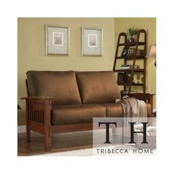 Tribecca Home Mission Style Oak and Rust Love Seat. This Beautiful Sofa Will Instantly Add a Tou ...