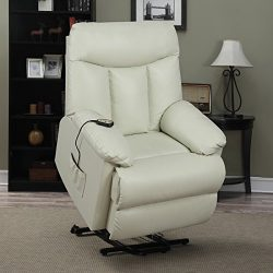 ProLounger Lya Cream Renu Leather Power Recline and Lift Wall Hugger Chair, Heavy Duty Steel Rec ...