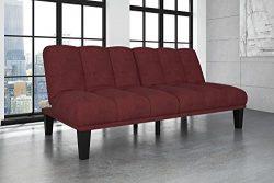 Hamilton Estate Premium Sofa Futon Sleeper, Rich Burgundy Comfortable Plush Upholstery, Sturdy W ...