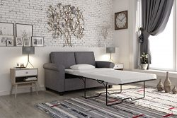 DHP Premium Sofa Bed, Pull Out Couch, Sleeper Sofa with Pull Out Bed, Twin Size Gray Linen Sofa  ...