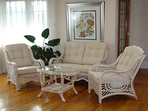 malibu rattan wicker living room set 4 pieces 2 lounge chair loveseat sofa coffee table white. Black Bedroom Furniture Sets. Home Design Ideas