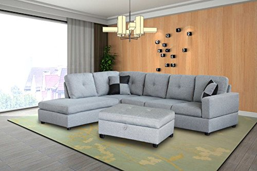 Legend 3 Piece Microfiber Right Facing Sectional Sofa Set With Free