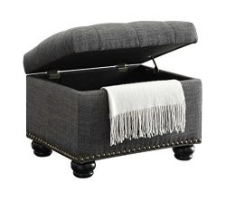 Convenience Concepts Designs4Comfort 5th Avenue Storage Ottoman, Gray