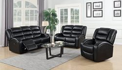 GTU Furniture Motion Sofa Loveseat Recliner Living Room Bonded Leather Set (Sofa, Loveseat and C ...
