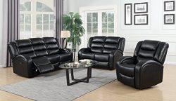 GTU Furniture Motion Sofa Loveseat Recliner Living Room Bonded Leather Set (Sofa, Loveseat and C ...