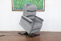 Divano Roma Furniture – Classic Plush Power Lift Recliner Living Room Chair (Grey)