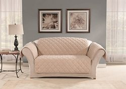 Sure Fit SF44967 Microfleece Pet Loveseat Furniture Cover – Taupe
