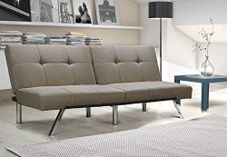 Layton Futon Sofa Bed Sectional Convertible Couch in Premium Linen, Available in Navy and Tan wi ...