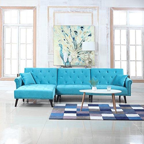 Mid Century Modern Style Velvet Sleeper Futon Sofa, Living