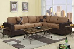 2 Piece Classic Large Microfiber and Faux Leather Sectional Sofa with Matching Accent Pillows &# ...