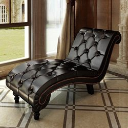 SKB Family Chesterfield Brown Chaise Lounge Button Tufted Adjustable Set