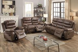 3Pcs Dark Coffee Leather Motion Sofa Loveseat Chair Recliner Set for Living Room