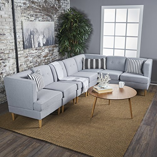 Milltown mid century modern fabric 7 piece sectional sofa for Modern light grey fabric sectional sofa