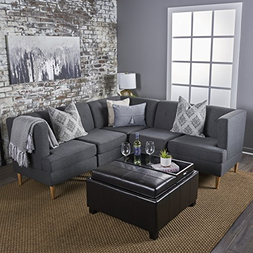 Milltown 5pc Mid-Century Tufted Modular Sectional Sofa