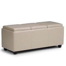Simpli Home Avalon Faux Leather Rectangular Storage Ottoman with 3 Serving Trays, Large, Satin Cream