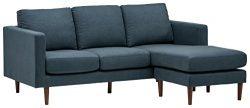 Rivet Revolve Modern Reversible Chaise Sectional, 80″W, Denim